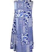 Patch Print Sleeveless Tunic with Collar, Blue, original image number 1