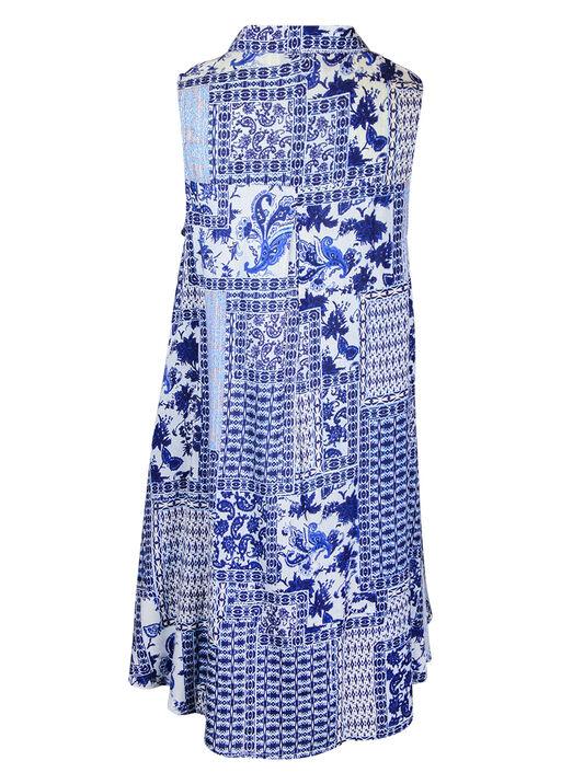 Patch Print Sleeveless Tunic with Collar, Blue, original