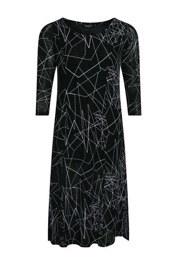 Geo Layered 3/4 Sleeve Dress, , original image number 0