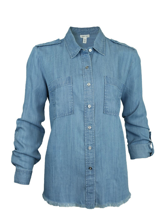 Frayed Hem Chambray Shirt, , original
