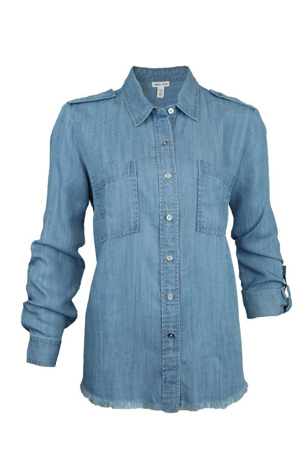 Frayed Hem Chambray Shirt, Blue, original image number 0