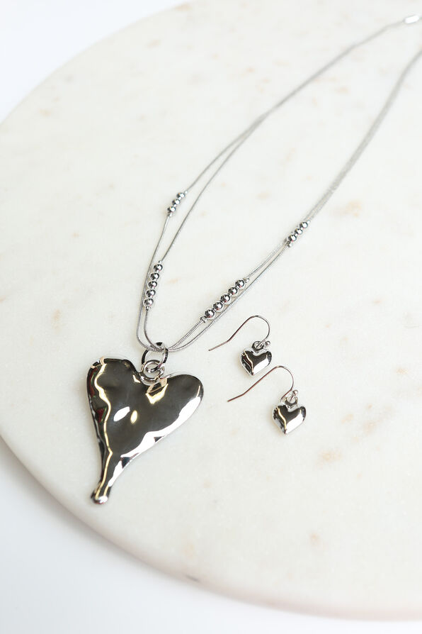 Teardrop Heart Pendant Necklace Set , Silver, original image number 1