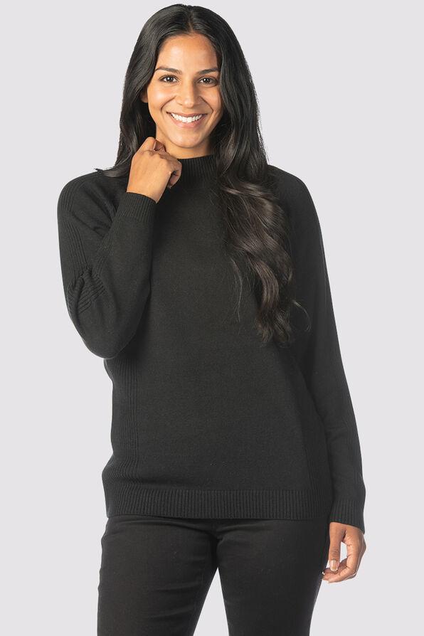 Refined Mock Sweater, Black, original image number 0