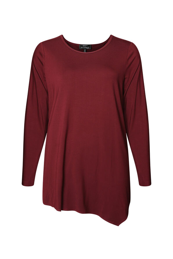 Asymmetrical Hem Long Sleeve Top, , original image number 0