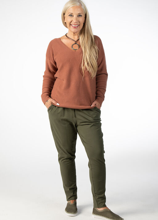 LONG SLEEVE SWEATER WITH V NECK, Rust, original