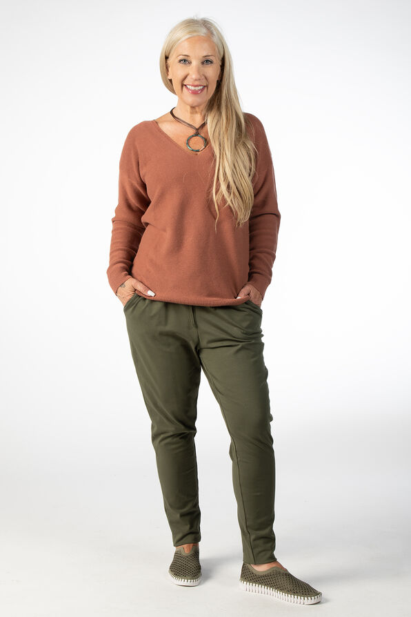 LONG SLEEVE SWEATER WITH V NECK, Rust, original image number 0