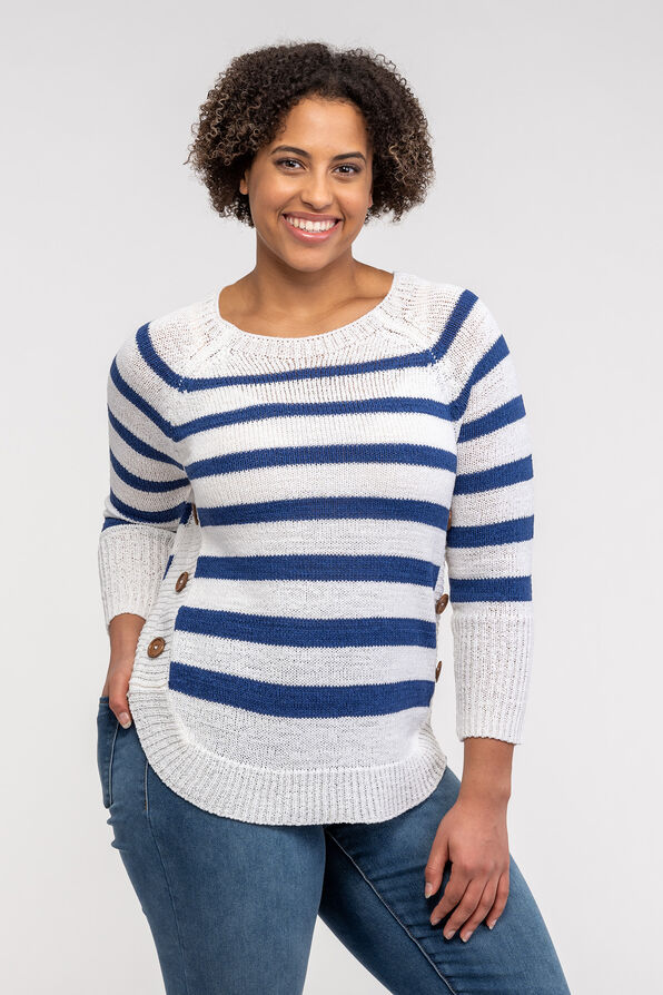 Striped Sweater with Crew Neck, Blue, original image number 0