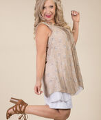 Layered Sleeveless Tunic, Taupe, original image number 1