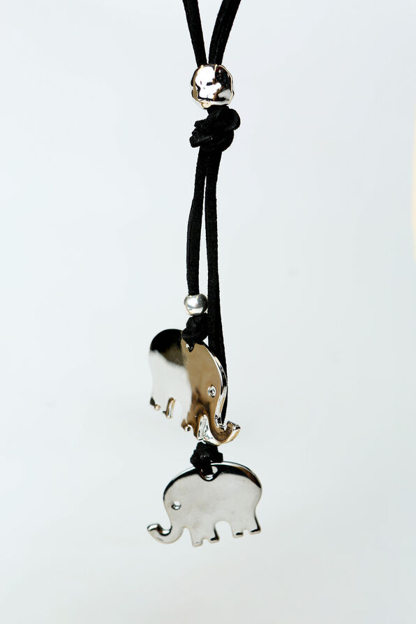 Elephant Charm Necklace, Black, original image number 1
