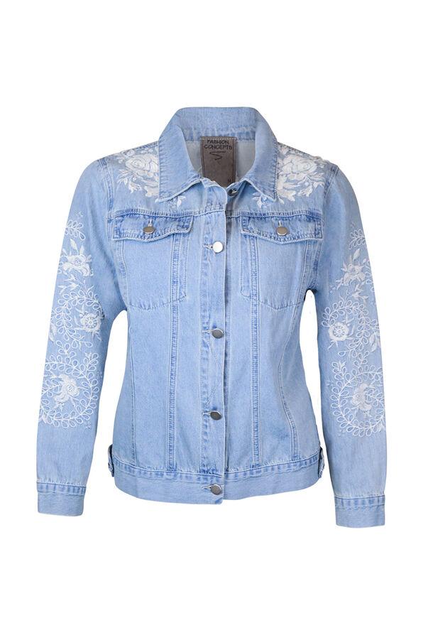 Embroidered Denim Jacket, Denim, original image number 0