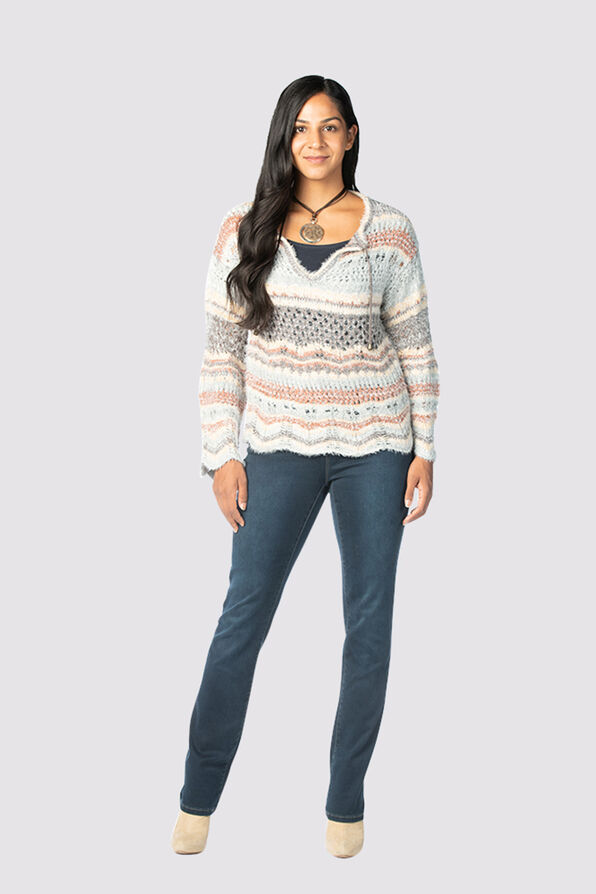 Boho-Chic Bell Sweater, Blue, original image number 0