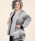 Fabulous Knit Cardigan with Pin, Black, original image number 2