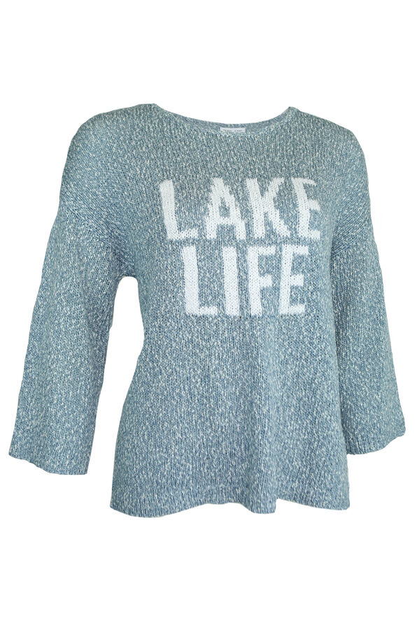 Lake Life Slub Knit Sweater, Blue, original image number 0