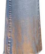Audrey Straight Leg Crop Jean Gold Fray Hem , Denim, original image number 3