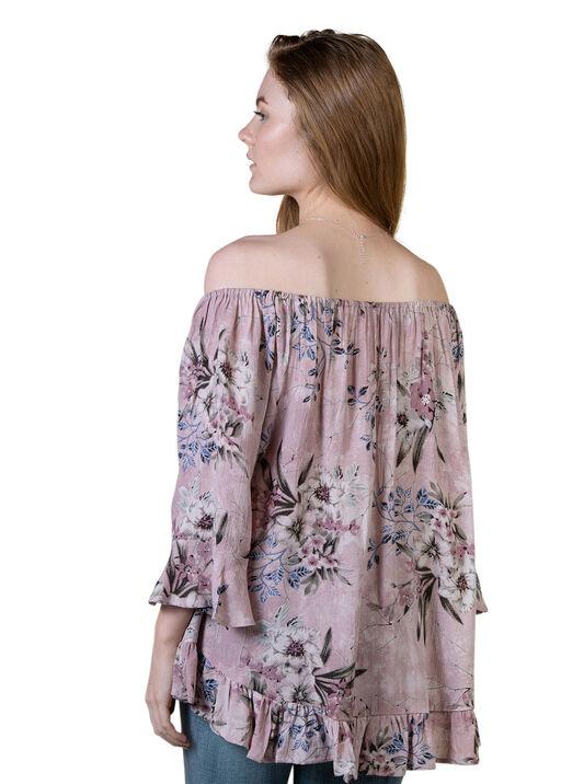Off-the-Shoulder 3/4 Sleeve Ruffle Hem Top, Pink, original
