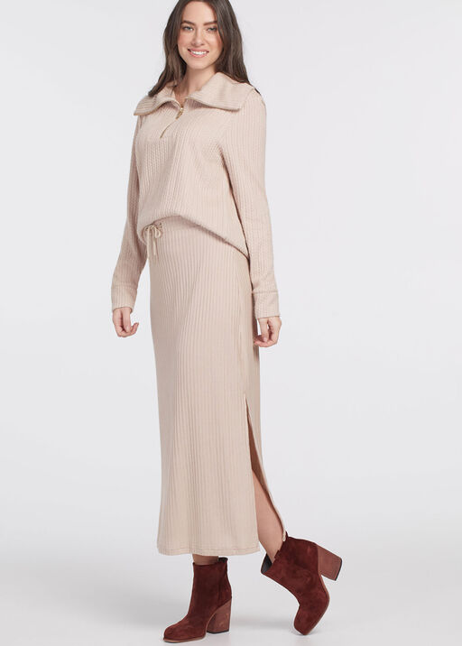 PULL ON MAXI SKIRT WITH SIDESLIT, Oatmeal, original