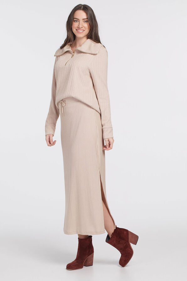 PULL ON MAXI SKIRT WITH SIDESLIT, Oatmeal, original image number 1