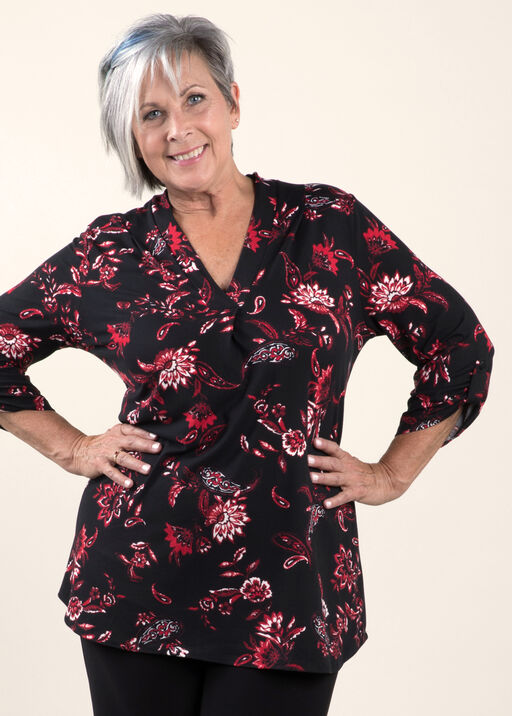 V-Neck Top with 3/4 Sleeve With Roll Cuff  , , original