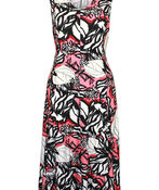 Embroidered Printed Sleeveless Midi Dress , Coral, original image number 0
