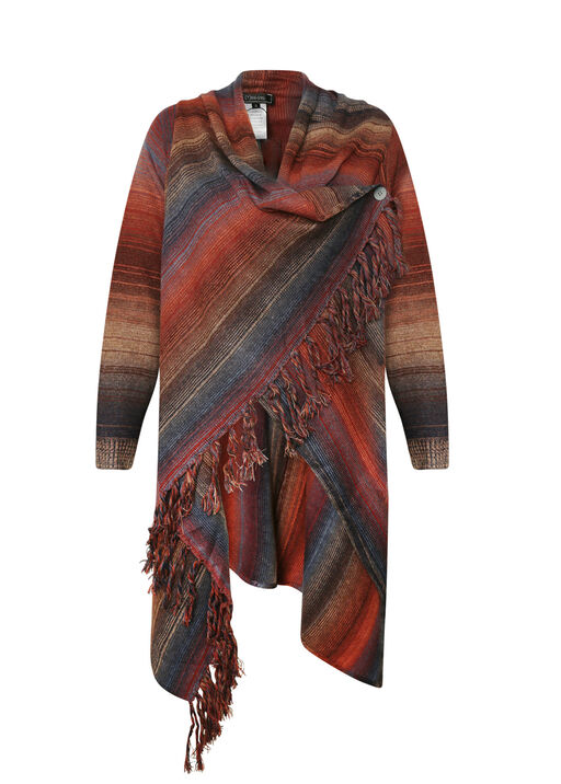 Wrap Cardigan with Fringe, , original