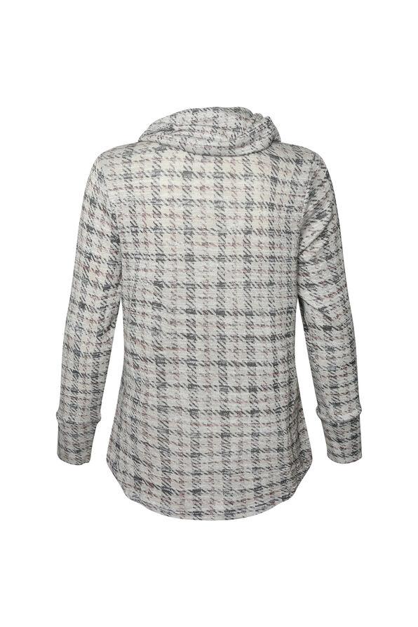 Soft Houndstooth Plaid Sweater , Cream, original image number 1