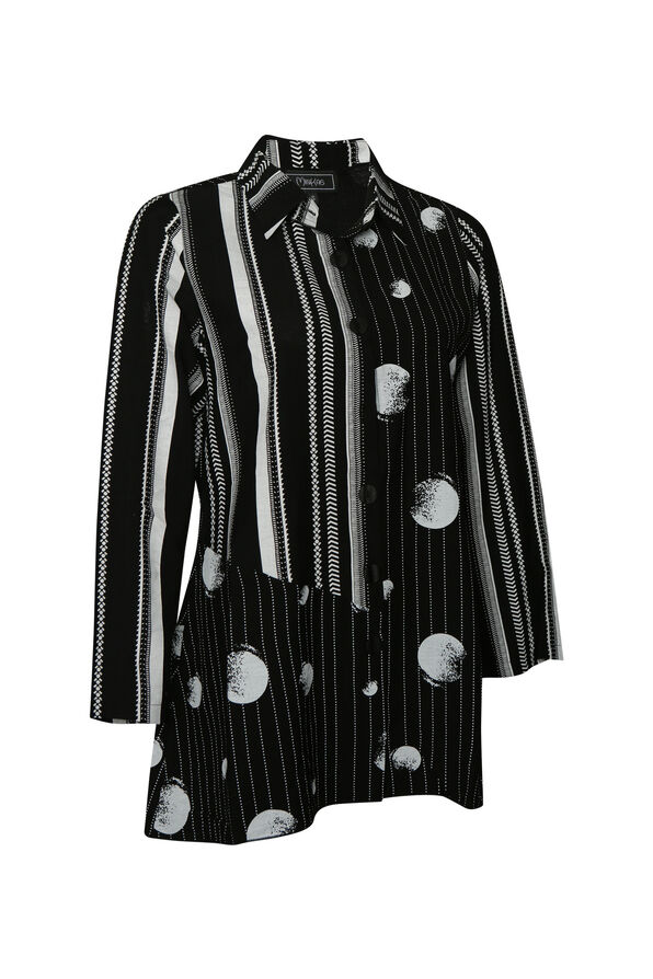 Striped Printed Button-Up Long Sleeve, Black, original image number 0