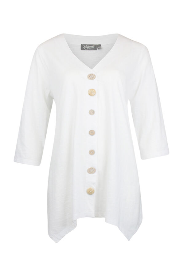 Wooden Button Front 3/4 Sleeve Top, , original image number 2