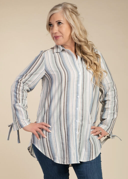 Stripe and Bow Blouse, Blue, original