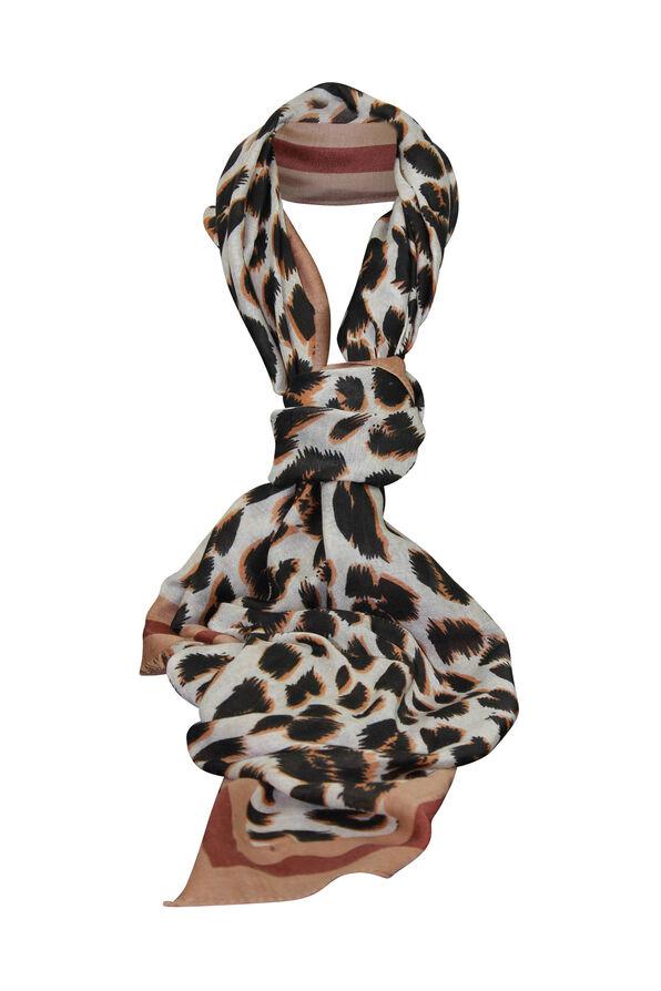Leopard Print Rectangle Scarf, Brown, original image number 0