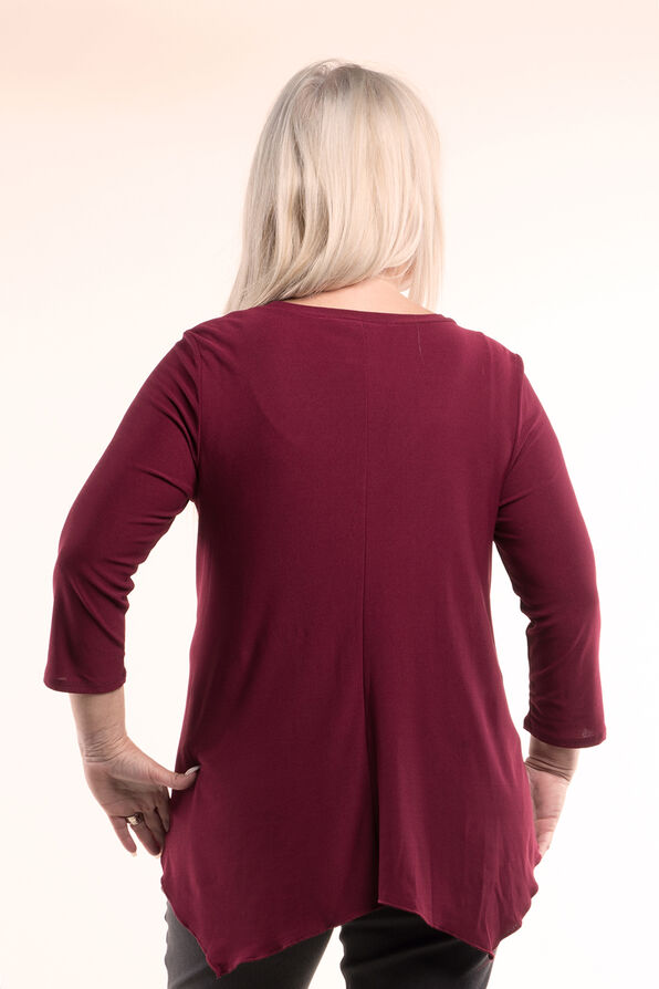 Top With V Neck And Hankie Hem, Burgundy, original image number 1