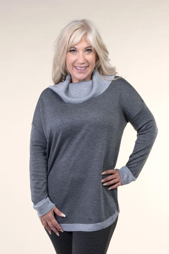 Cowl Neck Sweater, Grey, original image number 0