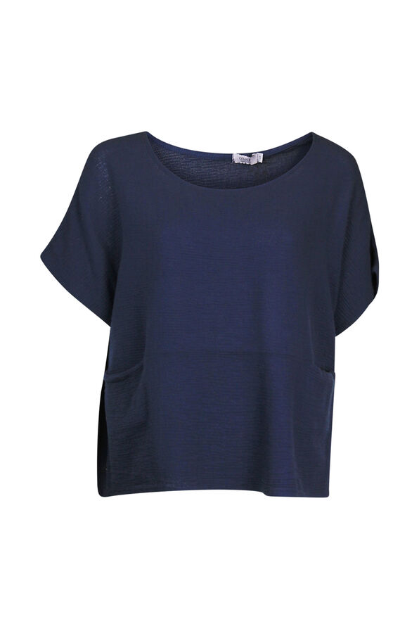 Cotton Short Sleeve Top with Wide Crew Neck  , Navy, original image number 0