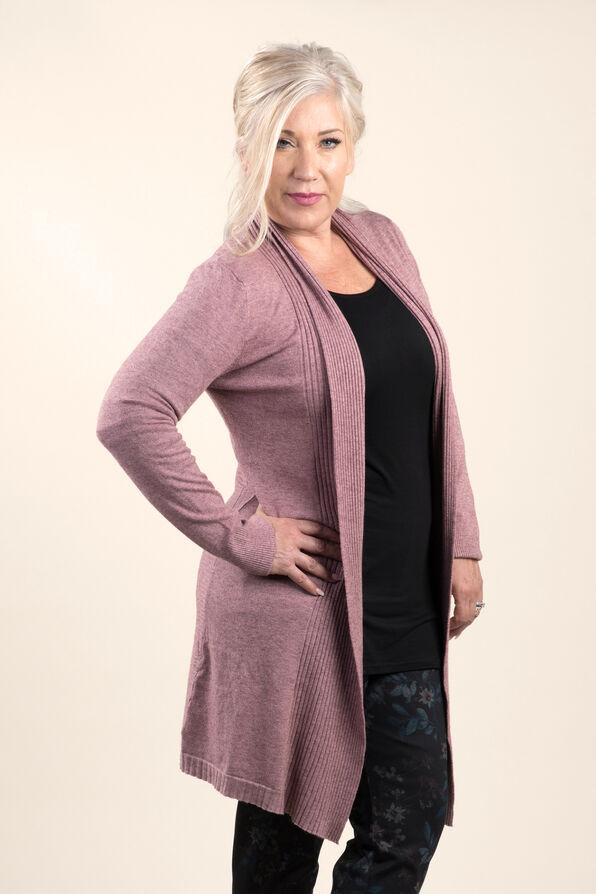 Knit Cardigan Knee Length, Pink, original image number 1