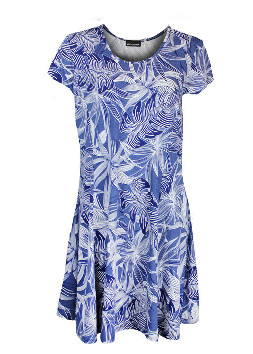 Puff Print Short Sleeve Fit and Flare Dress, Denim, original