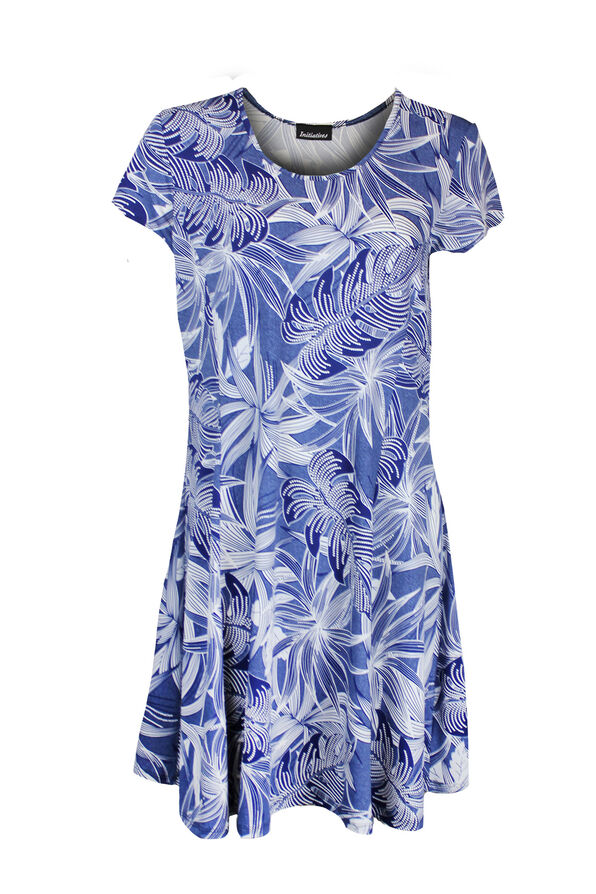 Puff Print Short Sleeve Fit and Flare Dress, Denim, original image number 0
