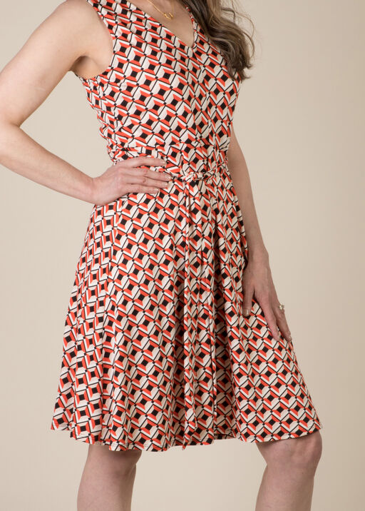 Diana Geo Print Dress, Coral, original