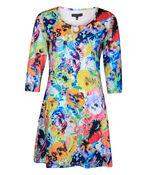 Floral Print Tunic Keyhole Neckline 3/4 Sleeves, Multi, original image number 0