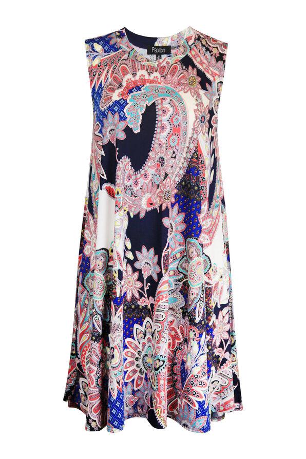 Sleeveless Paisley Swing Dress, Multi, original image number 1