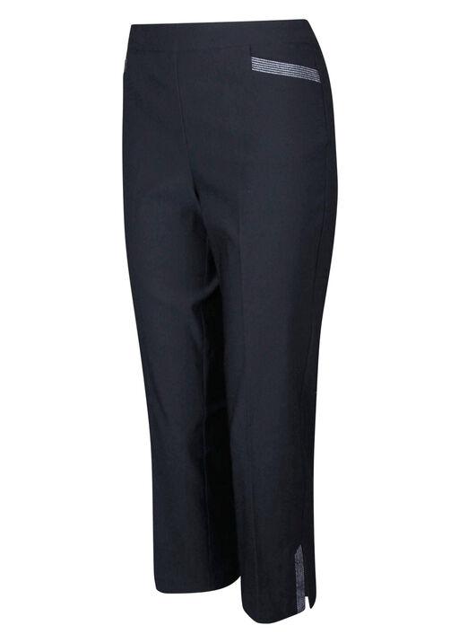 Tummy Control Capri Pant with Metallic Stripes, , original