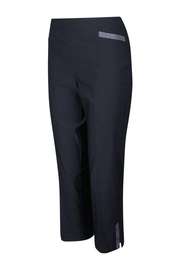 Tummy Control Capri Pant with Metallic Stripes, , original image number 0