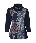 Knit and Lace Tunic with Cowl Neck, , original image number 1