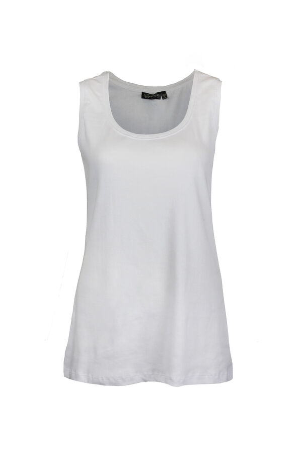 Ribbed Scoop Neck Sleeveless Top, , original image number 3