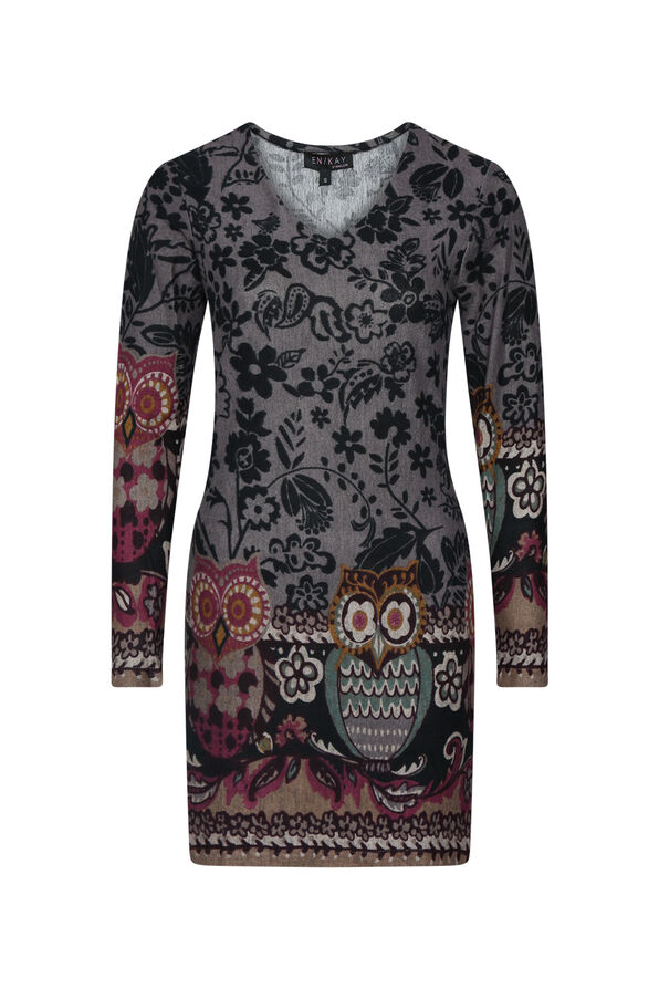 Owl Print Tunic, Lavender, original image number 0