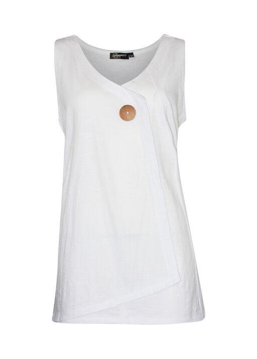 Cotton Faux Crossover Sleeveless Top, White, original