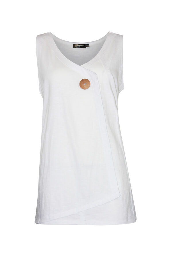 Cotton Faux Crossover Sleeveless Top, , original image number 3