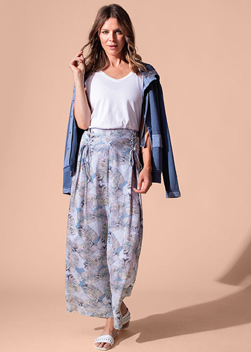 Tribal Laced Front Leaf Print Crop Palazzo Pant, Blue, original