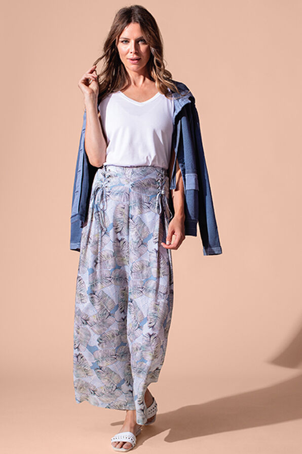 Tribal Laced Front Leaf Print Crop Palazzo Pant, Blue, original image number 0