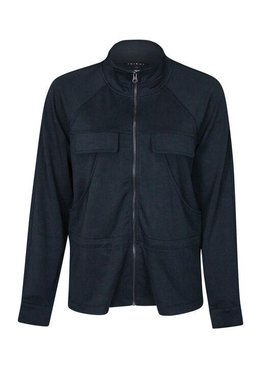 Front Zip Casual Jacket, Black, original