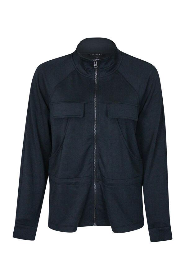 Front Zip Casual Jacket, Black, original image number 0