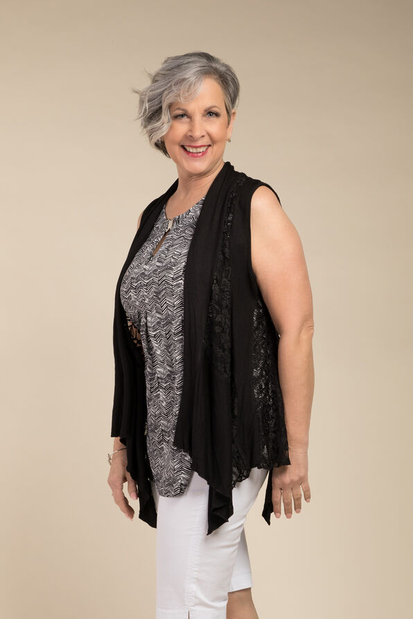 Sleeveless Lace Cardi, Black, original image number 0
